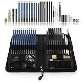 Castle Art Supplies 40 Bleistifte fürs Zeichnen und Sketch-Set in auffaltbarer Reißverschluss-Hülle – inklusive Graphit-, Pastell und Kohle-Bleistifte und -Zubehör