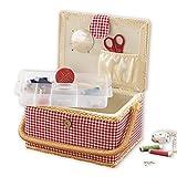 EASYmaxx sewing box | country style | insert utile avec compartiments de rangement | Inclut des accessoires de 76 pièces [rouge-blanc]