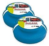 ALCLEAR 5713050M Auto Profi Handpolierschwamm, 2 Stück, 130x50 mm mit umlaufender Griffleiste für Wachse, Polituren, Lackreiniger, Politur Set, statt Poliermaschine