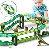 WOSTOO Dinosaurier Auto, Dinosaurier Spielzeug Autorennbahn Track Auto Kompatibel und 3 Dinosaurier Spielzeug, 1 Militärfahrzeuge Konstruktionsspielzeug für 3-5 Jahre alte Kinder Spielzeug Geschenk