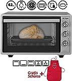 ICQN Minibackofen mit Umluft 42 Liter   Pizza-Ofen   Mini Ofen   Innenbeleuchtung   Doppelverglasung   Timer Funktion   Emailliert Inox Grau