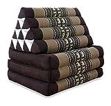 livasia Thaikissen mit 3 Auflagen, Kapok Dreieckskissen, Sitzkissen, Liegematte, Thaimatte (braun/Elefanten)