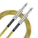Donner Gitarrenkabel Instrumenten Kabel von Premium-Qualität, Audio Kabel Klinke Basskabel AMP Kabel für die E-Gitarre, Elektro-Akustikgitarre, Bassgitarre 1/4 Stecker Gerade-Braun Gelb, 10 ft(3m)