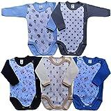 MEA BABY Unisex Baby Langarm Body aus 100% Baumwolle im 5er Pack, Baby Langarm Wickelbody mit Print, Baby Wickelbody für Madchen, Baby Wickelbody für Jungen, 74, Jungen