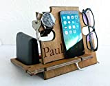 Personalized Gift for Him, Engraved Docking Station, Christmas Gift for Men - Smartphone Stand, Wooden Desk Organizer, Charging Station, Valentine's Day Gift
