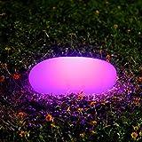 Solarlampen für Außen,OxyLED 1 Stück 2000 mAh RGB Oval Solar Gartenleuchte IP67 Wasserdicht Solar Gartendeko für Garten Patio Rasen Terrasse Schwimmbad