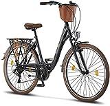 Licorne Bike Premium City Bike in 24,26 und 28 Zoll - Fahrrad für Mädchen, Jungen, Herren und Damen - Shimano 21 Gang-Schaltung - Hollandfahrrad - Violetta - Schwarz