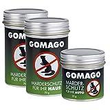 GOMAGO Marderschutz Set für Haus (2X) und Auto (1x) | Zuverlässige und artgerechte Mardervergrämung durch Duftstoff | Alternative zu Marderschreck, Marderspray, Ultraschall u.ä. [Granulat]
