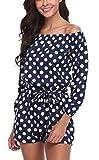 MISS MOLY Jumpsuit Damen Sommer Kurz Sexy Einteiler Polka Dots Playsuit Romper Gepunkte Blau X-Small