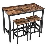 VASAGLE Bartisch-Set, Stehtisch mit 2 Barhockern, Küchentresen mit Barstühlen, Küchentisch und Küchenstühle im Industrie-Design, für Küche, 120 x 60 x 90 cm, vintagebraun-schwarz LBT15X