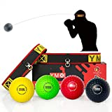 YMX BOXING Reflexball - 4 Bälle + 2 Stirnbänder, ideal für das Training von Reflex, Reaktion und Auge-Hand-Koordination