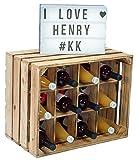 Kistenkolli Altes Land Flaschenregal Henry/Natur/geflammt Maße ca 50x40x30cm Regalkiste Flaschenablage Weinregal Apfelkiste/Weinkiste (Geflammt)
