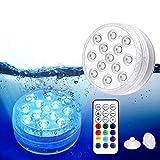 Magicfun Unterwasser Licht, Wasserdichtes LED Licht, mehrfarbige RGB-13-LED-Perlen mit RF-Fernbedienung, Poollampe für Swimmingpool, SPA, Vasenbasis, Aquarium, Teich, Inneneinrichtung (1 Stk)