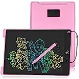 HOMESTEC Schreibtafel 12 Zoll, Buntes Display, LCD Elektronische Maltafel für Kinder, Rosa