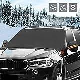 Huhu833 Frontscheibenabdeckung, Windschutzscheibe Abdeckung Winterabdeckung Eisschutz Faltbare Auto Frostabdeckung Magnet Schneeschutz, Abnehmbare Eisschutzfolie 220x127 cm (Schwarz)