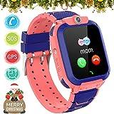 Kinder GPS Intelligente Uhr Wasserdicht, Smartwatch GPS Tracker mit Kinder SOS Handy Touchscreen Spiel Kamera Voice Chat Wecker für Jungen Mädchen Student Geschenk (S12 GPS Pink)