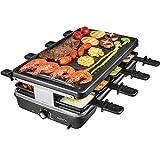 AONI Elektrischer Raclette grill Rauchfreier grill Elektrischer BBQ-Grill mit Antihaft-Grillfläche, 1200W Temperaturregelung, spülmaschinenfest, für die ganze Familie