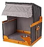 Hundestrandkorb PE schwarz Dessin grau gestreift inklusive Schutzhaube für Garten, Terrassen, Wohnzimmer, Strandkörbe, Hundekorb, Körbchen, Strandkorb, Hund, Katze, Hundebett, Napf, Hundehütte