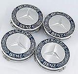 4X Dunkelblau Radnabenabdeckung Set für Mercedes Benz Radzierdeckel Lorbeerkranz 3D-Effekt Radzierdeckel Kappe Deckel Nabenkappen Center Wheel Cap Radzierkappen mit Befestigung Ring Radnabendeckel