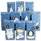 Papierdrachen DIY Adventskalender zum Befüllen - Polartiere zum Aufkleben - mit 24 blau bedruckten Papiertüten und tollen Stickern für Kinder - Weihnachten