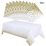 nuoshen Party-Tischdecken mit goldenen Punkten, 50 Servietten, eine einmalige Papier-Tischdecke, ideal für Geburtstagspartys