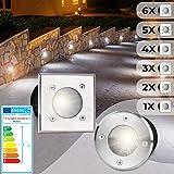 Bodeneinbaustrahler Eckig 6er Set - Außen (10x10x12cm), LED geeignet / GU10 / IP65-67, aus Edelstahl, Gestalten- und Setauswahl - Bodenstrahler, Gartenstrahler, Bodenleuchte