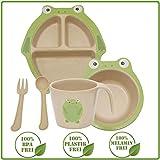 Green World Production Kindergeschirr Set 6-teilig ohne Melamin und Plastik, Spühlmaschienengeeignet Mikrowellengeeignet, besteht aus Teller Schale Löffel Gabel Tasse aus Reishülse inkl Saugnapf