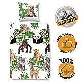 Aminata Kids Bettwasche135x200 Kinder Mädchen Baumwolle Zoo-Tiere - Panda-Bär mit Reißverschluss, Kinder-Bettwäsche-Set, Safari-Motiv, Dschungel-Tiere, Giraffe, AFFE, Leopard, bunt, Tier-Babys