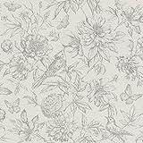 rasch Tapete 449440 aus der Kollektion Florentine II – Vliestapete in Grau mit floralem Muster im Vintage Stil – 10,05m x 53cm (L x B)