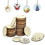 IGRMVIN 50 Stück Holz Scheiben aufhängen Holzplättchen Rund Natürliche Holzscheiben zum Basteln Baumscheiben mit Loch für DIY Handwerk Malen Beschriften Streudeko Hochzeit Weihnachten (4*4*0.25cm)