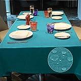Balcony&Falcon Tischdecke Leinenoptik tischdecke abwaschbar Tischtuch Leinen Tischläufer Tischwäsche Eckig Wasserdicht Tischdecke Blau 145 x300