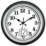 12-Zoll-Wanduhr und Thermometer, klassisches Außen- / Innendesign mit großem Design für Garten, Küche, Bad und mehr,Silber-