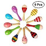 TOYMYTOY 9 Stücke Holz Maracas Rassel Shakers Musikinstrumente Spielzeug für Baby Kinder (Zufallsmuster)