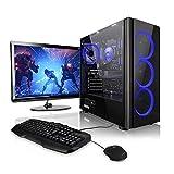 Megaport Komplett-PC AMD Ryzen 5 2600 6x3.40 GHz • GeForce GTX1050Ti • 24' Monitor+Tastatur+Maus • 16GB RAM • 1TB • Windows 10 Gaming PC, Gamer PC, PC Komplettsystem, Komplett Set, PC Komplettpaket