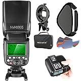 Neewer 2.4G Wireless 1/8000 HSS TTL Master Slave Blitz Speedlite Set für Sony Kamera mit Mi Schuh: NW880S Blitz N1T-S Auslöser S Halterung 16x16 Zoll Softbox 20 Stück Farbfilter