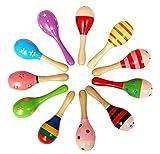 12Pcs Hölzernes Sand Hammer Rasseln Schlaginstrument Musical Spielzeug, Holz Rasseln Holz Maracas, Musik Rasseln Shaker Kinder Stichhaltiges Musik-Spielwaren-Geschenk, Zufällige Farbe Muster