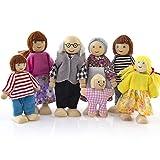 7 Personen Familie Puppen - Biegepuppen aus Holz & Stoff - Minipuppen für 1:12 Miniatur Puppenhaus Zubehör - Geschenk Spielzeug Holzpuppe für Kinder