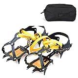 Sweet&rro17 Ice Grips 10 Zähne Steigeisen Mangan Stahl Anti-Rutsch Eisstollen mit Packtasche für Wandern, Trekking, Klettern