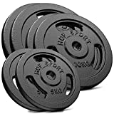 Hop-Sport 60 kg Gusseisen Hantelscheiben-Set - Verschiedene Varianten zur Auswahl - Gewichte mit 30/31 mm Bohrung (2x15 + 2x10 + 2x5)