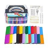 SUNNOW Polymer Ton 24 Farben 680g/1.5LB Modelliermasse Ofen Backen Polymer Clay DIY Weich Handwerk Ton Set mit Modellierwerkzeugen und Zubehör in Aufbewahrungsbox, Kinder (24 Colour)