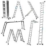 MCTECH® 6 in 1 Anlegeleiter 340/ 470cm Mehrzweckleiter Aluminium Verstellbar Klappleiter Gelenkleiter Leiter Stehleiter Leitergerüst Arbeitsbühne (4X4 Stufen mit plattform)
