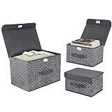 DIMJ 3 Stück Aufbewahrungsboxen mit Deckel und Griff, Faltbarer Cube Aufbewahrungskorb Ordnungsystem für Kleiderschrank, Kleidung, Bücher, Kosmetik, Spielzeug (Weiße & Schwarz)