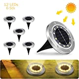 Solarleuchten Garten, Görvitor 6 Stück Solar Bodenleuchte Außen 12 Warmweiß LEDs, Edelstahl 304 Solarlampen für Außen Boden mit IP65 Wasserdicht für Rasen Patio Hof Garten
