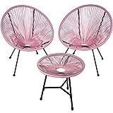 TecTake 800730 2er Set Acapulco Garten Stuhl mit Tisch, Lounge Sessel im Retro Design, Indoor und Outdoor, pflegeleicht, Relaxsessel zum gemütlichen Sitzen - Diverse Farben - (Pink | Nr. 403309)