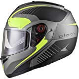 Black Optimus SV Tour Motorrad Roller Klapphelm XL Matt Black Safety Yellow