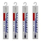 Lantelme 4 Stück Thermometer Set für Kühlschrank und Gefrierschrank anlog mit Haken Hergestellt in Deutschland 4884