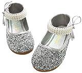 BoBo Angel Mädchen Mary Jane Halbschuhe Prinzessin Paillette Ballerina mit Perlen Riemchen Klettverschluss Festliche Glitzer Schuhe - Silber Größe 29