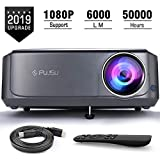Beamer, 6000 LM Full HD 5.8' LCD Video Projektor 1080P HDMI USB VGA SD Card AV für Office Powerpoint Präsentationen Heimkino Unterstützt mit Powerpoint Fernbedienung