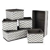 Babylovit 6er Set Aufbewahrungsbox - Faltbox für Bad, Wickelkommode, Schreibtisch - Korb Aufbewahrung - Ordnungsbox in grau & weiß