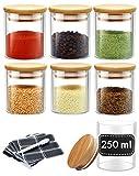 Gewürzgläser Set - 8 Glas Dosen mit 8 Etiketten - 250ml Groß - Luftdicht - Spülmaschinenfest